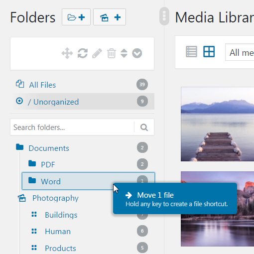 Real Media Library moving file